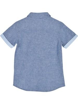 Silversun Silversunkids   Erkek Çocuk Mavi Renkli Kısa Kollu Cep Detaylı Dokuma Gömlek   Gc 215409