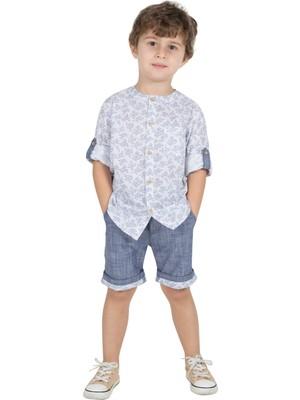 Silversun Silversunkids   Erkek Çocuk Beyaz Renkli Baskılı Hakim Yaka Kolları Düğme Detaylı Uzun Kollu Gömlek   Gc 215358