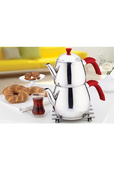 Safinox Mini Yağmur Çaydanlık Kırmızı Kulplu