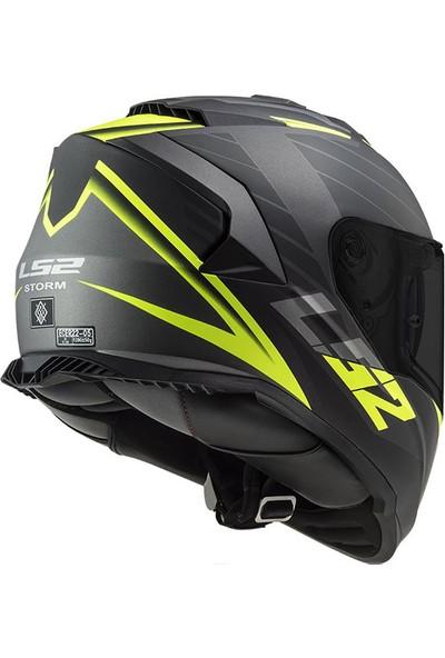 Ls2 Storm Nerve Mat Siyah-Neon Sarı Kask 2 Cam