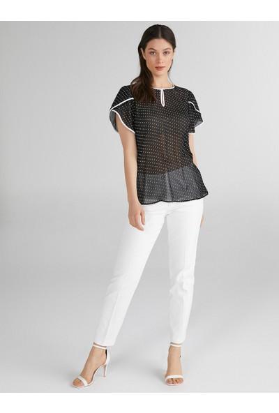 Faik Sönmez Puantiye Desenli Kolları Volanlı Bluz 62133