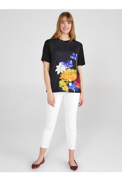 Faik Sönmez Çiçek Desen Baskılı Yuvarlak Yaka T-Shirt 62501