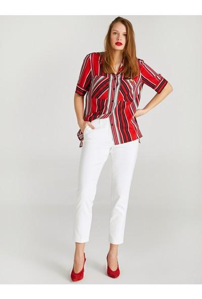Faik Sönmez Çizgili Kısa Kol Cep Detaylı Gömlek 62310