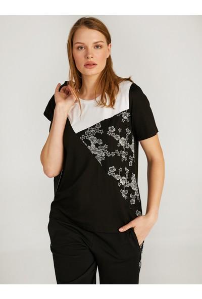 Faik Sönmez Çiçek Baskı ve Renk Bloklu T-Shirt 62518
