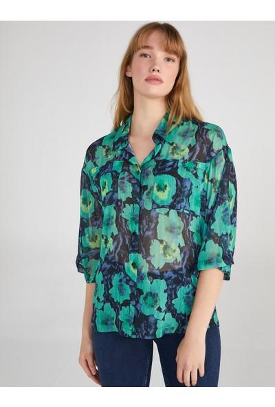 Faik Sönmez Çiçek Baskılı Şifon Gömlek 62304