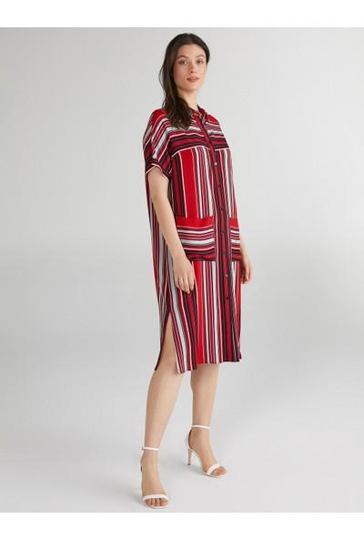 Faik Sönmez Çizgili Cep Detaylı Gömlek Elbise 62231