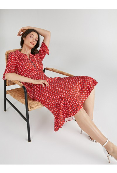 Faik Sönmez Geometrik Desenli Fermuar Yakalı Kısa Kol Elbise 62228