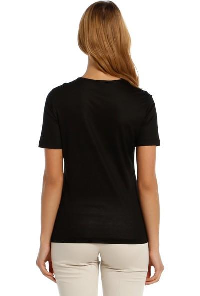 Solo Merserize Süper Lüks Örme Kumaş, Payet Detaylı T-Shirt Bluz, SOLO-BLUZ019