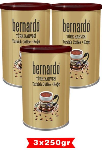 Bernardo Türk Kahvesi 250 gr Teneke Kutu 3'lü Set