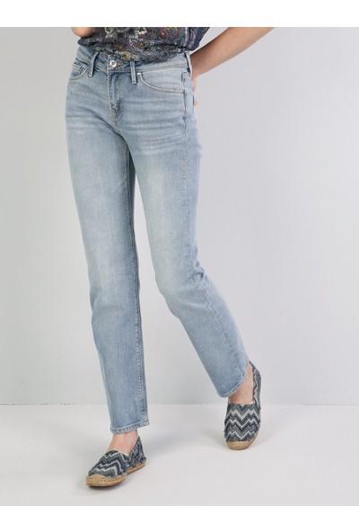 Colins 792 MILA Orta Bel Düz Paça Regular Fit Açık Mavi Kadın Jean Pantolon