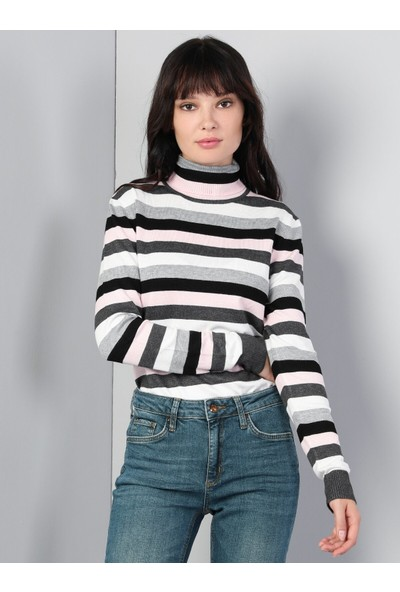 Colins Slim Fit Balikci Kadın Çok Renkli Kazak