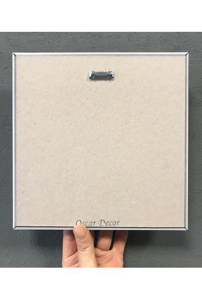 Oscar Stone Decor Çerçeveli Taş Duvar Dekoru Tablo Pano 3'lü 20 x 20 cm