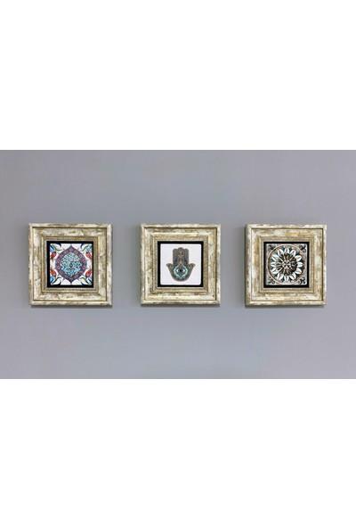 Oscar Stone Decor Çerçeveli Taş Duvar Dekoru 20 x 20 cm Fatma Ana Eli Bereket Nazar Duası