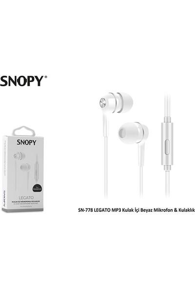 Snopy SN-778 Legato MP3 Kulak İçi Beyaz Mikrofon & Kulaklık