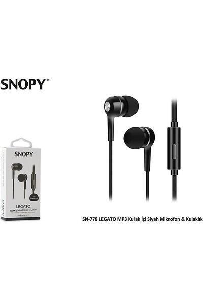 Snopy SN-778 Legato MP3 Kulak İçi Siyah Mikrofon & Kulaklık