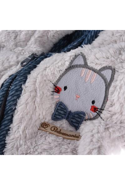 Bebemania Papyonlu Kedi Welsoft Astar Kapüşonlu Mont-Indigo
