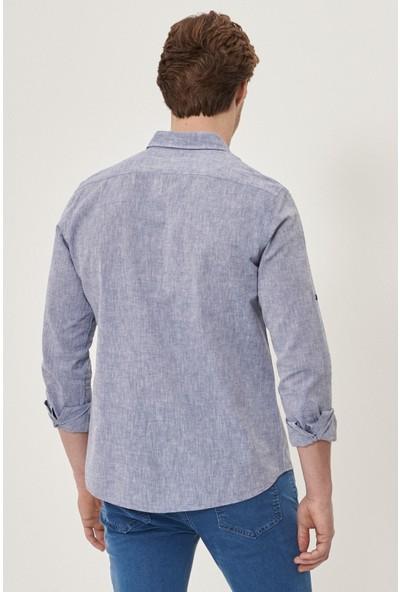 Altınyıldız Classics Tailored Slim Fit Dar Kesim Düğmeli Yaka Keten Gömlek