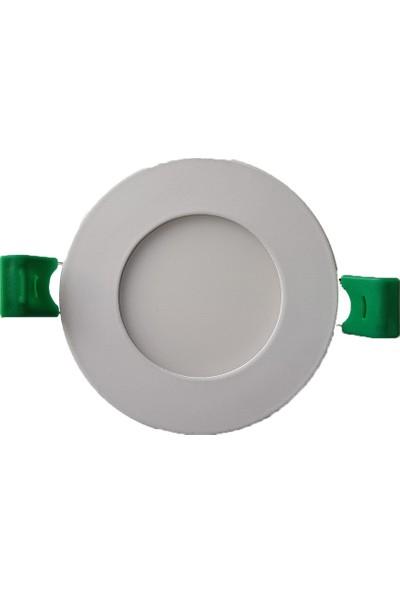 Uzlight Panel LED Slim Yuvarlak Spot 3 W 6500K Beyaz Işık Beyaz Gövde