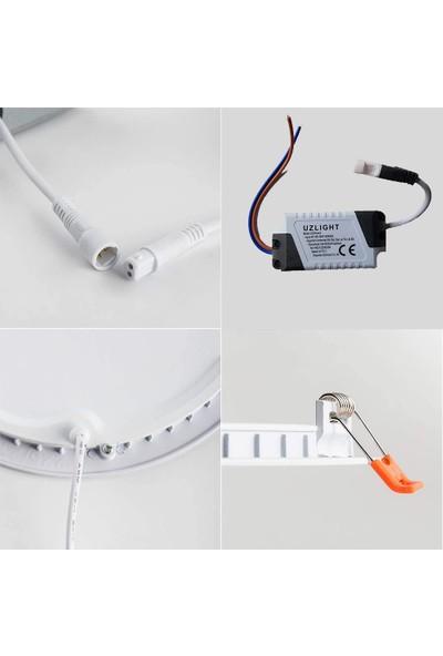Uzlight Panel LED Slim Yuvarlak Spot 6W 6500K Beyaz Işık Beyaz Gövde