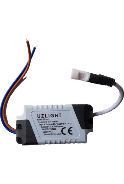 Uzlight Panel LED Slim Yuvarlak Spot 9W 6500K Beyaz Işık Beyaz Gövde