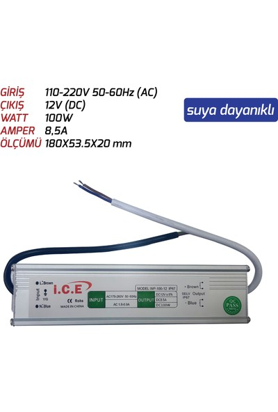LED Trafosu (100W) 12V Suya Dayanıklı