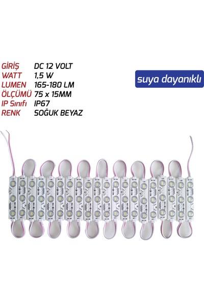 Js-Modül LED 1,5 W 12V Soğuk Beyaz Renk 20 Adet Paket Sıralı ((Suya Dayanıklı))
