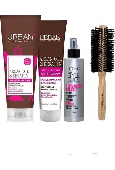 Urban Care Besleyici Şampuan 250 Ml+Keratinli Bakım Kremi 150 Ml+Onarıcı Deniz Tuzu Sprey 60 Ml+Doğal Saç Fırçası
