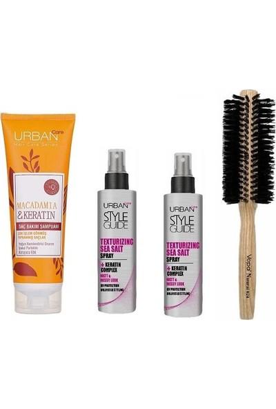 Urban Care Makedemya Özlü Şampuan 250 Ml+Şekillendirici Deniz Tuzu Sprey 60 Ml*2+Doğal Saç Fırçası