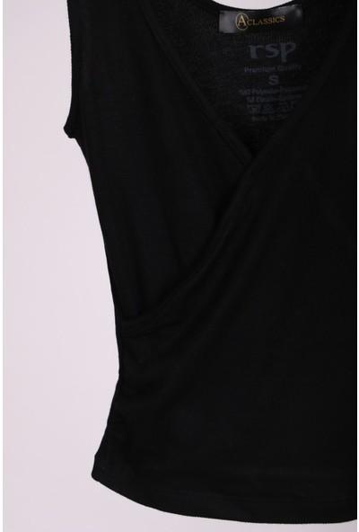 Aclassics Siyah Kalın Askılı Kruvaze Kısa Slim Fit Atlet T-Shirt