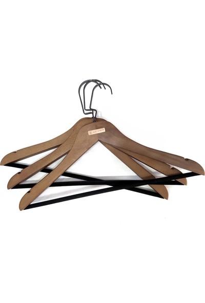 Işık Ahşap Ceviz Elbise Askısı Kadife Çubuklu 6 Adet