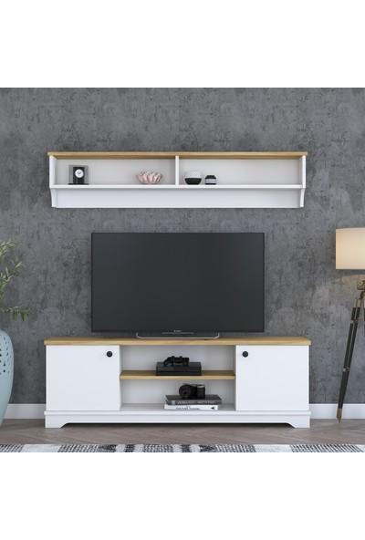 Rani D3 Duvar Raflı Kitaplıklı Country Tv Ünitesi Tv Sehpası Beyaz Keçe Ceviz M2