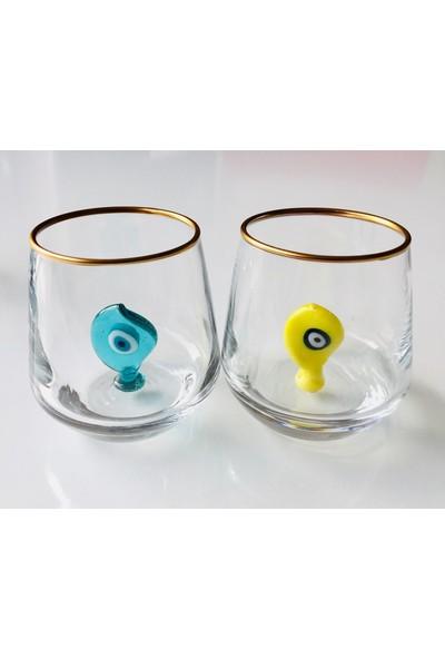 Adamodart Nazarlı Kahve Yanı Yaldızlı Su Bardağı 6'lı Takım