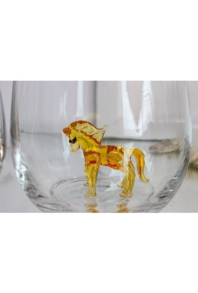 Adamodart At Figürlü Yaldızlı Tekli Su Bardağı