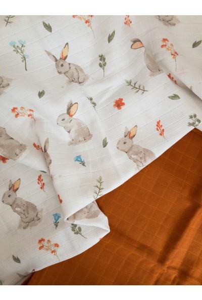 Dream Store Tavşan Desenli ve Tarçın 2 Li Müslin Örtü Seti