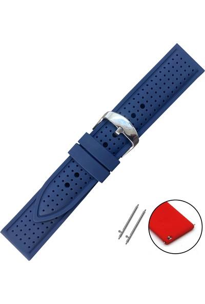 Esprit Saat Uyumlu Lacivert Renk Akıllı Pimli Delikli Spor Silikon Saat Kordonu Kayışı