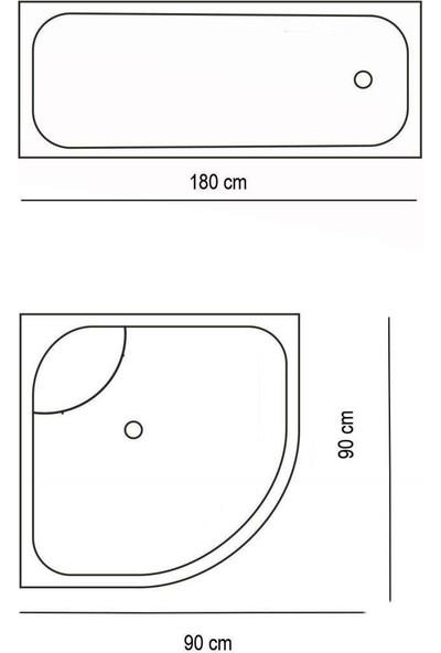 Zethome Jackline Banyo Duş Perdesi 1076 Tek Kanat 1 x 180 x 200 cm