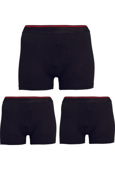 Belifanti Collection Erkek Siyah Likralı Boxer 3'lü Paket