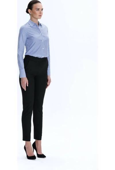 Demet Şener İstanbul Demet Şener Mavi Beyaz Çizgili Klasik Gömlek
