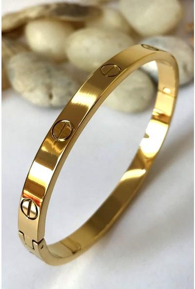X-lady Accessories Çelik Kelepçe Bileklik Altın Renk