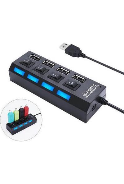 Wozlo 4 Port USB 2.0 Çoklayıcı Hub Anahtarlı Işıklı Adaptörlü