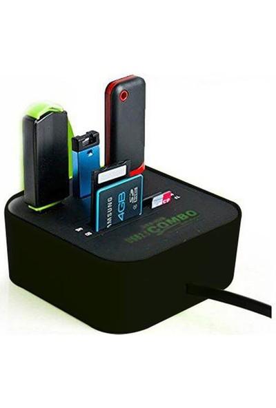 Wozlo USB 2.0 Hub Combo USB Çoklayıcı Splitter Ms M2 Tf Sd Card Kart Okuyucu