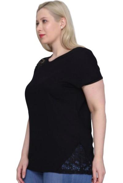 Violetta Siyah Büyük Beden Dantel Detaylı Bluz