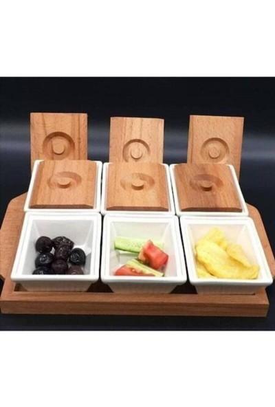 Rood Wit Beyaz Bambu Tabaklı Fincan ve Ahşap Tepsili Kahvaltılık Takımı