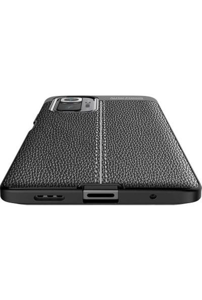 Fibaks Xiaomi Redmi Note 10 Pro Kılıf Rugan Armor Deri Görünümlü Tam Koruma Silikon Kapak