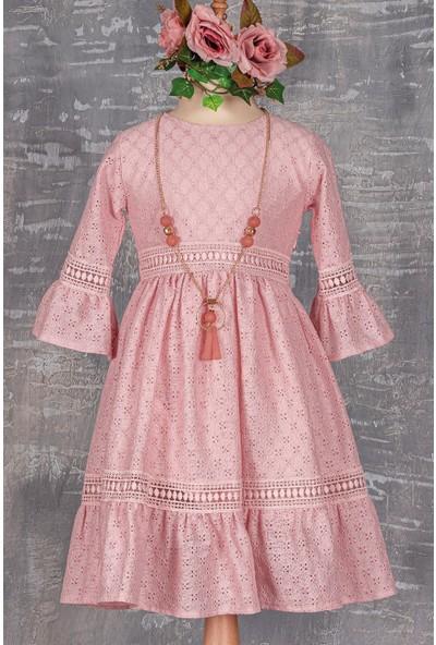 Tivido Uzun Kollu Kolyeli Kız Çocuk Elbise