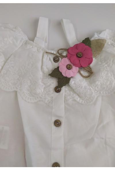 Miss Marine Kalın Askılı Çiçek Kemer Detaylı Bilek Boy Kız Çocuk Yazlık Şalvar Takım