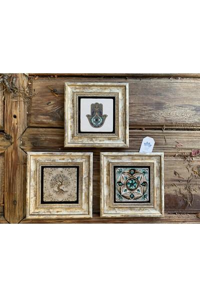 Oscar Stone Decor Çerçeveli Taş Duvar Dekoru 20 x 20 cm 3 Lü Set Desen - Pattern