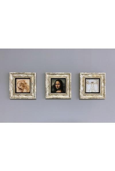 Oscar Stone Decor Çerçeveli Taş Duvar Dekoru 20 x 20 cm 3 Lü Set Rönesans Eserleri