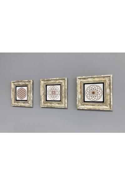 Oscar Stone Decor Çerçeveli Taş Duvar Dekoru 20 x 20 cm 3 Lü Set Gustav Klimt Eserleri