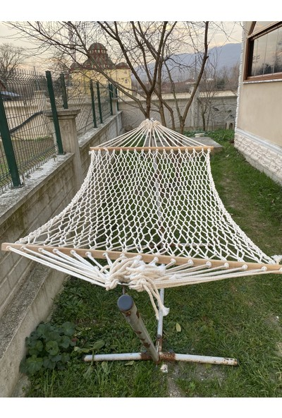 ONOUQO Salıncak Hamak El Örmesi Makrome Salıncak Hamak Çift Kişilik %100 Pamuk Örme Kamp Piknik Hamağı